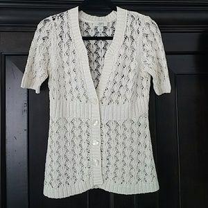 Flattering Ivory crocheted cardigan